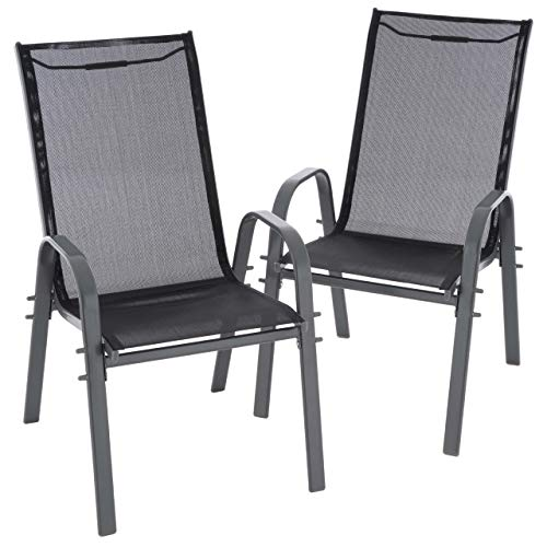 Nexos 2er Set Gartenstuhl Camping Stapelstuhl Hochlehner Terrassenstuhl – Textilene Stahl stapelbar – Farbe: Rahmen anthrazit/Bespannung schwarz