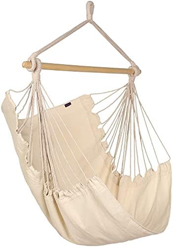 Columpio de cuerda colgante para silla hamaca, columpio de algodón con un máximo de 330 libras, 2 cojines incluidos, para patio, porche, dormitorio, patio trasero, interior o exterior (beige),Beige