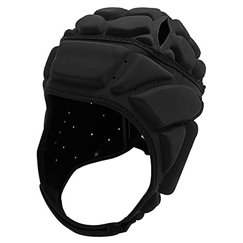 Rugby Helmet Headguard Black Soft Headgear Head Protector Padded for Youth & Adult Adjustable 7v7 Flag Football Soccer Goalie Shell Padding Anti-Collision Cap Riding Skateboard Outdoor Sports (M)
