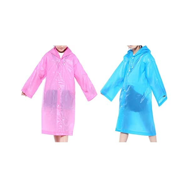 CDOFFICE 2 Pack Children Rain Ponchos Portable Reusable Raincoats for 6-12 Years Old (Blue+Pink)