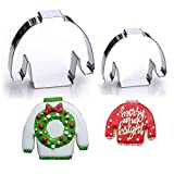 """Ugly Christmas Sweater Cookie Cutter Set, 2 Piece, 4.2"""" Wide - Stainless Steel"""