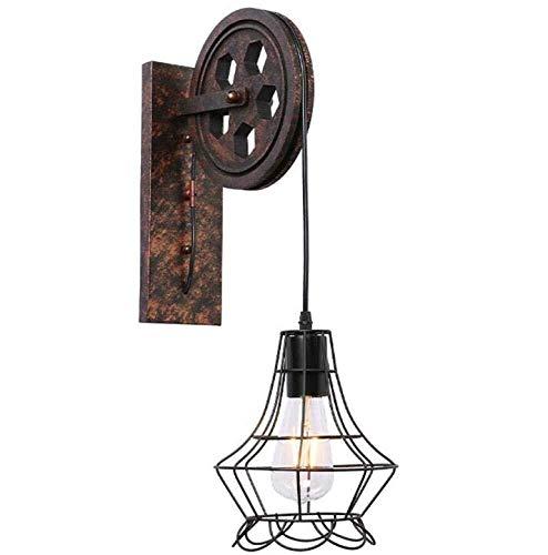 LCSD Luces de Pared Vintage Loft - Lámpara De Pared - Estilo Rústico - Polea - Lámparas De Pared - Lámpara De Metal - Cuerpo, Latón, Color, Café, A