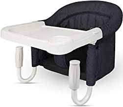 TOONOON Hook On High Chair, Fast Table Chair Clip on Table High Chair, Fold-Flat Storage Tight Fixing Portable Baby Feeding Seat for Baby Toddler Washable with Dining Tray for Travel Outside Blue