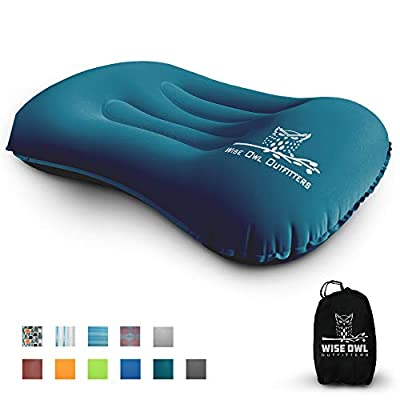 Wise Owl Outfitters Ultralight Inflatable Air Camping Pillow Compressible Compact Inflating Small Travel Pillows for Sleeping Backpacking Hammock Car Camp, Beach - Smart Push Button Air Valve – Teal