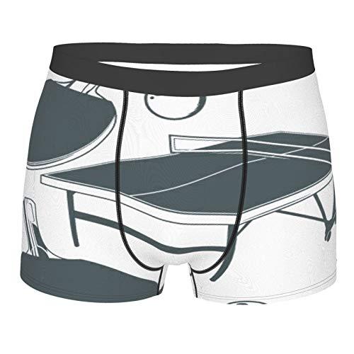 Popsastaresa Männerunterwäsche,Tischtennisplatte, Tischtennisschläger, Tischtennisball, Boxershorts Atmungsaktive Komfortunterhose Größe XL