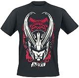 Loki Camiseta Hombre Horned Helmet Marvel algodón Negro - M