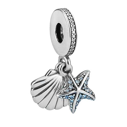 LILANG Pandora 925 joyería Pulsera Natural Xiaojing Plata esterlina Verano Conchas Marinas y Cuentas de Estrellas de mar encantos Mujeres Originales Regalos de Bricolaje