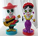 Sugar Skull Skeleton Day of The Dead Male and Female Bobble Head Party Dancers | Car Dashboard Toys | Halloween Solar Powered Bobblehead Dancing Toys (Set of 2)