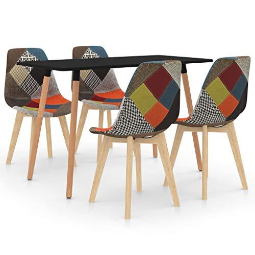 vidaXL Juego de Comedor 5 Piezas Muebles Mobiliario Hogar Cocina Terraza Exterior Silla Mesa Asiento Suave Decoración Moderno con Respaldo Multicolor