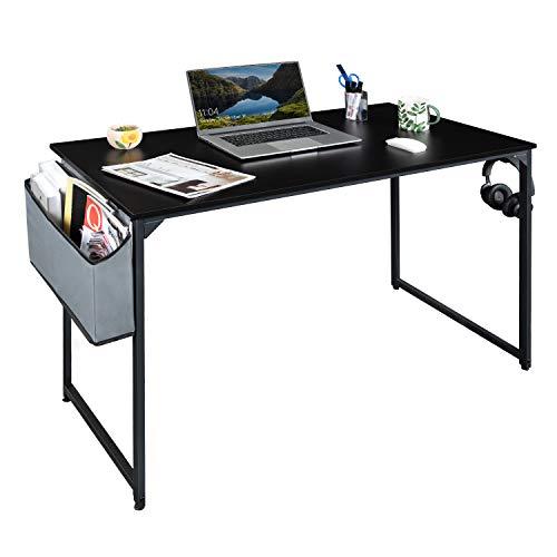 Furmax Writing Computer Desk 110 cm Office Desk Modern Laptop Table Wood Desktop for Home Office Living Room with Storage Bag and Headphone Hook Wooden Frame (Black)