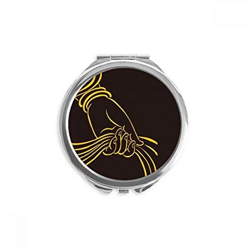 DIYthinker bouddhisme religion foulard main motif miroir rond maquillage de poche à la main portable 2,6 pouces x 2,4 pouces x 0,3 pouce Multicolore
