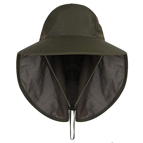 XINYIND Unisex Cappello da Sole Cappello da Pescatore con Protezione del Collo Cappello Tesa Larga con Protezione UV per Pesca, Trekking, Campeggio, Verde Militare (55-60cm)
