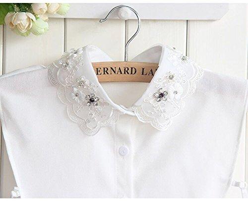 Yulakes Fashion Kragen Vintage Elegante Damenhalb Fälschungs-Kragen Fake Hemd Bluse Kragen Weiß Abnehmbare Hälfte Hemd-Style 9