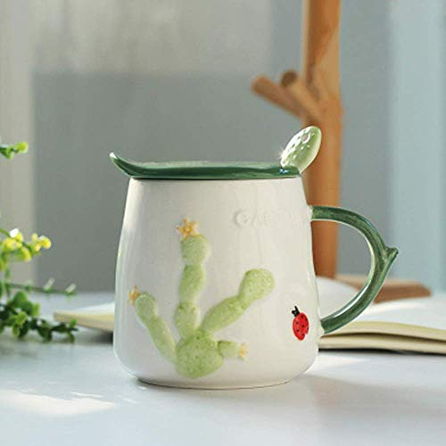 GJJSZ Keramik Kaffeetasse Süße Tasse Milch Frühstückstasse Kaktus Kreative Keramik Tasse Mit Deckel Löffel Kaffeetasse Kreatives Geburtstagsgeschenk(Farbe: A,Größe: 470 ml)