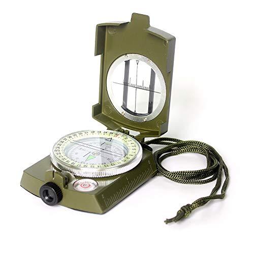 Lekoo Multifonctions Compas en métal avec dragonne étanche et résistant aux Chocs Idéal pour la randonnée Camping Escalade Vélo – Vert armée