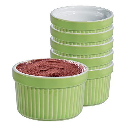 MamboCat 6er Set Tartelettes-Förmchen Lissi 200 ml Ø 9 cm Mini-Aufbackform Auflauf-Form Keramik-Schälchen pastellgrün Porzellan-Geschirr Küchen-Zubehör