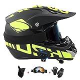 LIYANZWJ Casco de motocross con certificación DOT con lente HD y ventilación, cascos de moto con Bluetooth para hombres y mujeres (guantes, gafas y máscara)
