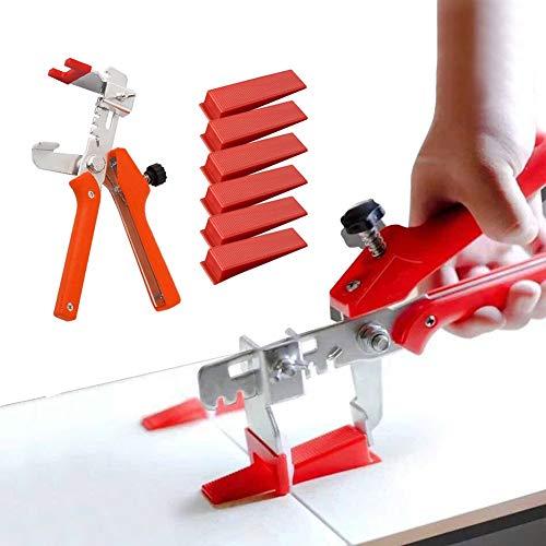 Kit de sistema de nivelación de azulejos para herramientas de construcción de paredes de cerámica (200 cuñas + 1 pinza)