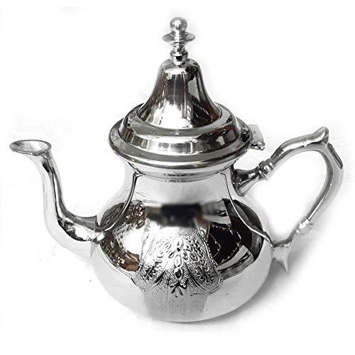 Marokkanische Teekanne Fatima | Silber | H:22cm | Handgefertigte Orientalische Marokkanische Teetkanne oder als Kaffeekanne für Kaffee