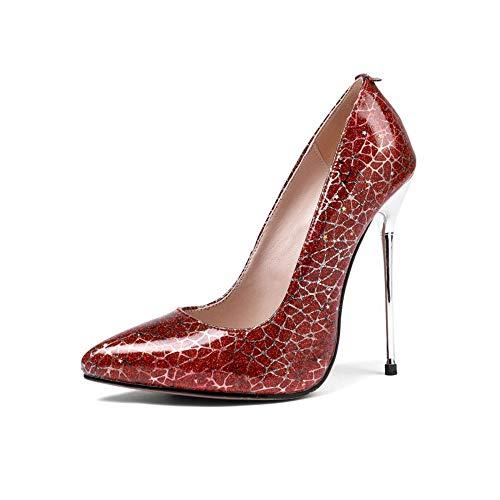 DEAR-JY Zapatos de Tacón para Mujer,12.5cm de Microfibra Sexy de Charol Zapatos...