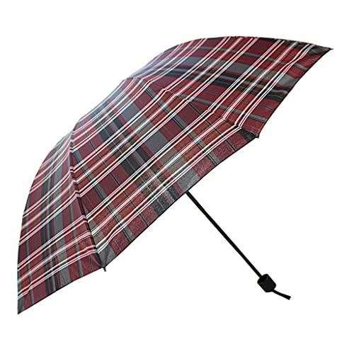 FZXL Paraguas a prueba de viento Paraguas plegable Paraguas de viaje Oversize Paraguas de lluvia Doble Moda All-Match Enrejado Travel Gear (Color: B) (D)
