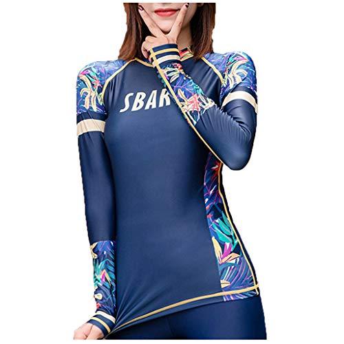 UoBfine Traje de baño de una pieza de manga larga para surf, protección UV, protección solar para mujer, traje de baño de manga larga, traje de baño con protección UV UPF 50+, azul, L