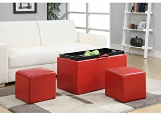 Convenience Concepts 143012 Designs4Comfort Faux Leather Storage Bench with 2 Side Ottomans, Wood & Leather Material, Red Color