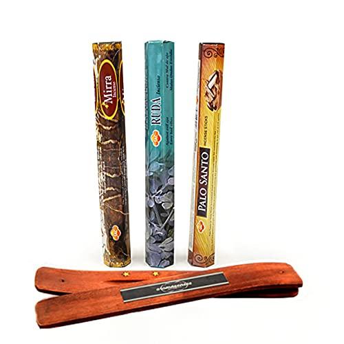 Sac inciensos 3 cajetillas con 20 Sticks Cada una, Mirra, Ruda y Palo Santo + Tablilla Aromasenses de Regalo