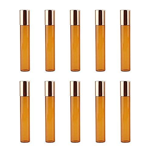 Merssavo Botella de rodillo de vidrio vacío, botellas de vidrio de rollo ámbar Set botella de aceite esencial con bola de rodillo de metal para perfumes brillo labial – 10 ml/cubierta dorada