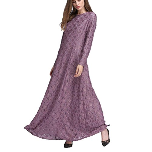 Amphia Damen Muslim Kleidung, Frauen Muslim Abaya Dubai Kleider islamischen Hochzeitskleid Kleid Kaftan Rayon Gewand (Lila, XL)