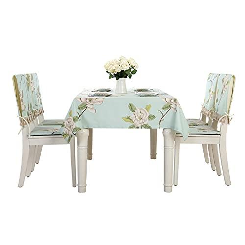 CAMILYIN Juego de 5 manteles de flores y fundas para sillas, rectangular, mantel de lino de algodón, mantel de decoración de mesa de café para mesa de comedor/fiesta, 130 x 180 cm