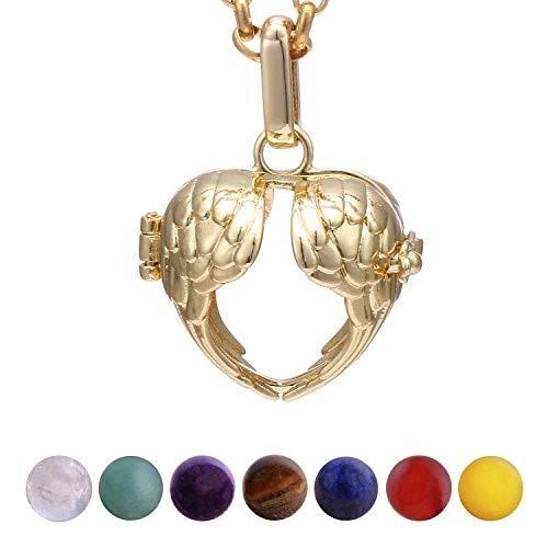 Morella Collana Donna Acciaio Inossidabile Oro 70 cm con Ciondolo con Cuore e Ali di Angelo e 7 Sfere con Pietre preziose Gemme minerali Chakra in Un Sacchetto di Velluto