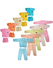 SR CREATIONS New-Born Baby Polycotton Solid Color T-Shirt and Shorts&Pant Combo Set (Multicolor; 0-6 Months) Pack of 10