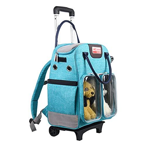 Maleta Trolley para Mascotas, Maleta Trolley Paño de Oxford Transpirable Y Extraíble Adecuada para Viajar, Salir Y Caminar,Azul