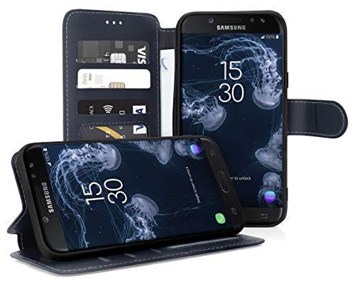 MyGadget Funda Billetera con Tapa para Samsung Galaxy J5 (2017) en Cuero Sintético PU - Carcasa Flip Bolsillo y Soporte Plegable Anti Golpes - Azul