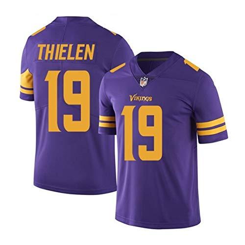 DADD Adam Thielen # 19 Minnesota Vikings Herren Rugby-Trikot, Stickerei Kurzarmspiele trining Unisex Fans Trikots Atmungsaktives T-Shirt-purple2-XL