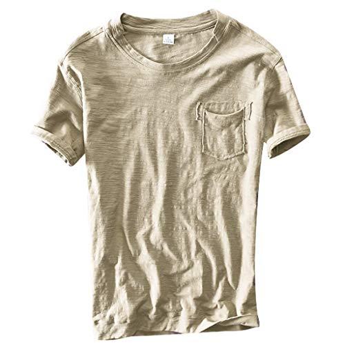 Dasongff T-shirt voor heren, ronde hals, korte mouwen, stijlvolle solide zomertop, basic casual thee met tas, vrijetijdsshirt, vintage baggy tops, korte mouwen XX-Large kaki