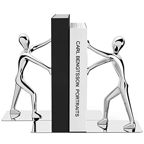 MROCO Decorative Bookends Heavy Duty Zinc Alloy Man Book End, Non-skid Bookend, Metal Book Ends for Shelves, Book Support, Book Stopper for Books, Movies, Magazines, Video Games, 7.28 x 6.1 in, Silver
