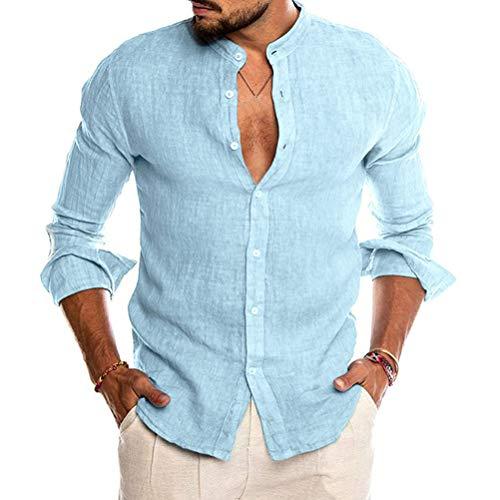 Minetom Uomo Camicia in Lino Slim Fit Henley Shirts Estate Elegante Casual Maniche Lunghe Camicie Spiaggia Regular Fit Uomo Colore Puro Classico Lavoro Shirts A Blu S