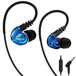 adorer RX6 Sport Headphone In Ear with Microphone IPX4 Splashproof Stereo Earbud, Sport Earphone for iPhone, iPad, Samsung, Android, iOS, MP3 Player - Blue