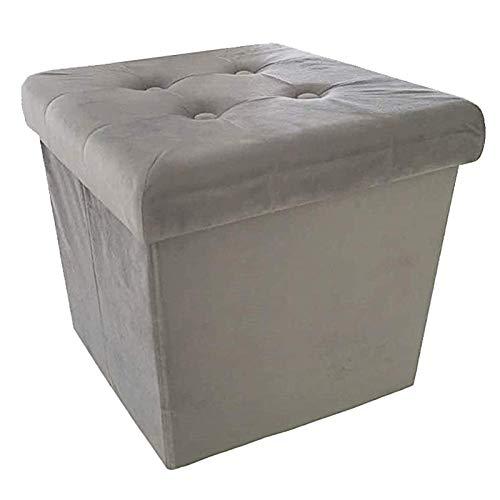 Style home Sitzbank Sitzhocker Aufbewahrungsbox mit Stauraum faltbar belastbar bis 300 kg, 38 x 38 x 38 cm (Hellgrau-Samt)