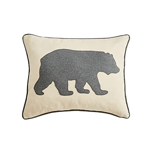 Eddie Bauer Home | Home Collection | 100% Cotton Twill Signature Bear Design Decorative Pillow, Zipper Closure, Easy Care Machine Washable, 1 Count (Pack of 1), Grey