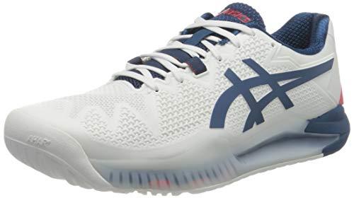 ASICS Gel-Resolution 8, Scarpe da Tennis Uomo, White/MAKO Blue, 42 EU