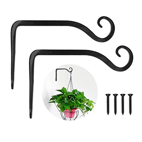 LOOGI Plant Hooks Iron Wall Hanger Decorative Bracket Holder 6 Inch for Hanging Planter Lantern Bird Feeder Sconce - 2 Pack