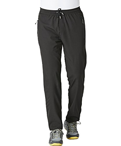 Gopune Men's Spring and Summer Lightweight Breathable Casual Hiking Pants Outdoor Sports Quick Dry Trousers (Black,L)
