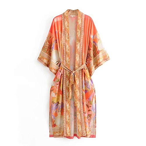 feiren Kimono de playa con estampado de sirena para vacaciones, bohemio, bolsillos delgados, trajes de baño de gran tamaño, divididos sexys de manga larga (color: impresión, talla: S)