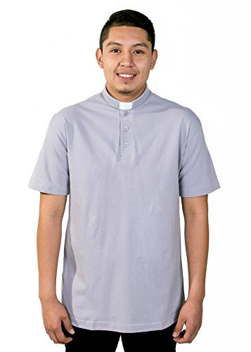 Mercy Robes Mens Clergy Polo Short Sleeves TAB Shirt (Light Grey) (6XL, Light Grey)