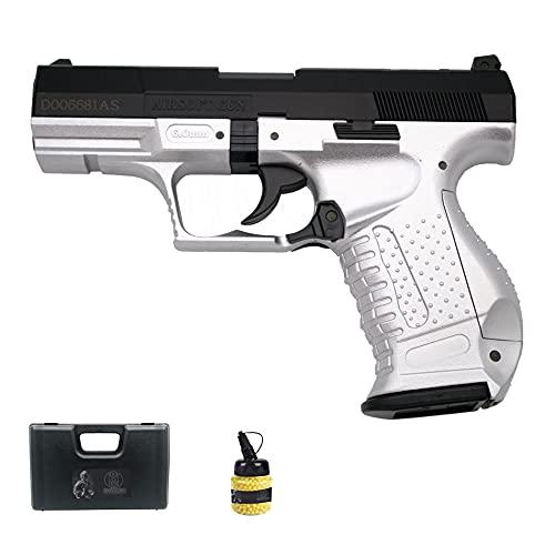 Pistola Galaxy P99 Bicolor (Muelle) | Pistola de Airsoft (Bolas de plástico 6mm) Tipo Walther + maletín de PVC + biberón de munición