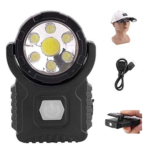 BESTSUN Cap Light USB wiederaufladbar, Clip on LED Lights für Baseball Cap, Ultra Bright 7 LED/Magnet/Drehbar / 3 Modi