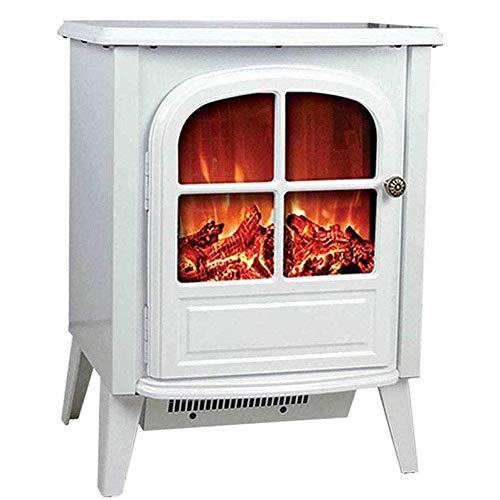 Yxxc Calentador, Estufa eléctrica 2000W Estufa eléctrica con Efecto de Llama LED de leña Color de Llama Ajustable y Velocidad Blanca
